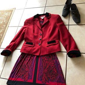 ANN TAYLOR Petites 10P Red Blazer w/Black Accents